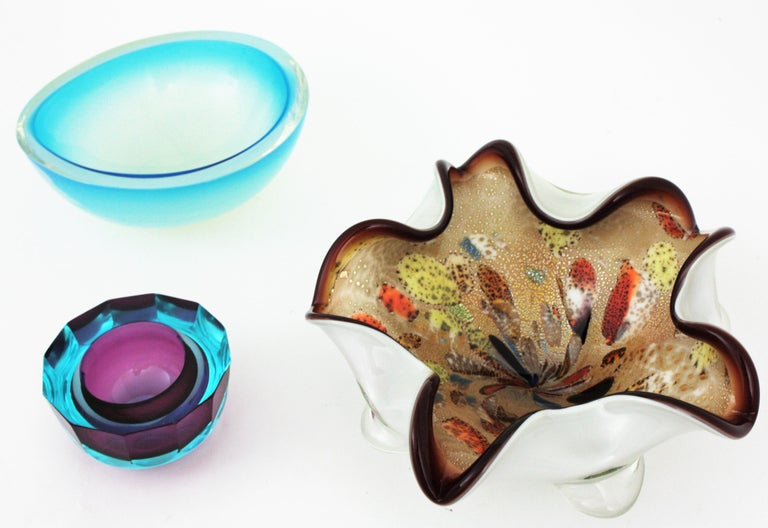 Large Murano Glass Tutti Frutti Flower Bowl by Dino Martens For Sale 4