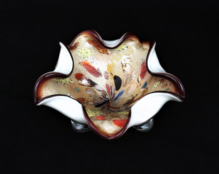 Large Murano Glass Tutti Frutti Flower Bowl by Dino Martens For Sale 1