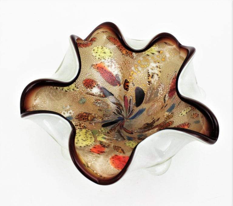 Large Murano Glass Tutti Frutti Flower Bowl by Dino Martens For Sale 2