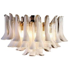 Large Murano Glass White Petals Chandelier