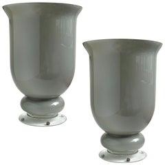 Large Murano Gray Urn Shaped Italian Art Glass Centerpiece Flower Vases