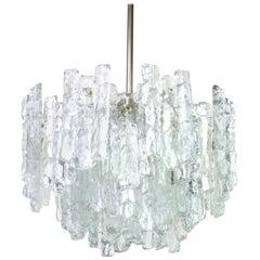 Large Murano Ice Glass Chandelier by Kalmar, Austria, 1960s