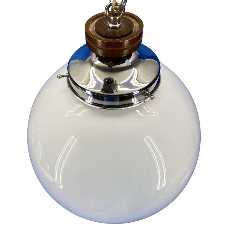Mid-Century Modern Large Murano Mazzega Glass Globe Ceiling Lamp, 1960s, Italy For Sale