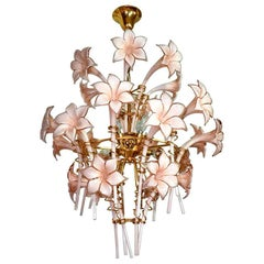 Large Murano Pink Lilly Sculptural Chandelier Franco Luce Art Glass & Gilt Brass
