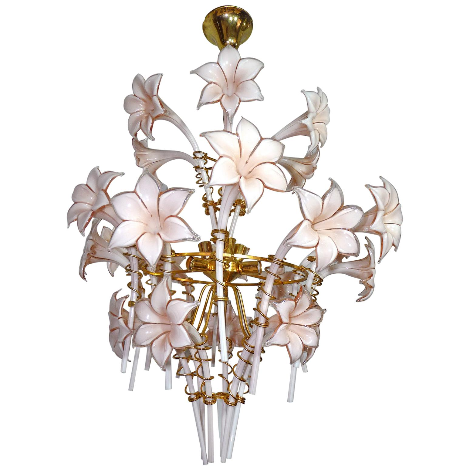 Large Murano Pink Lilly Sculptural Chandelier Franco Luce Art Glass & Gilt Brass