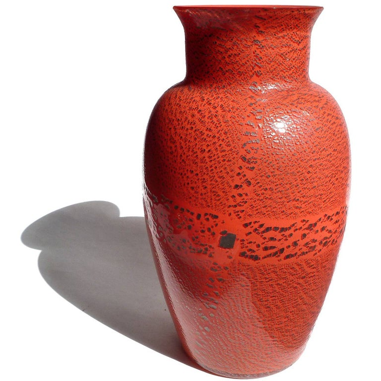 Mid-Century Modern Large Murano Red Applied Heavy Silver Leaf Italian Art Glass Flower Vases For Sale
