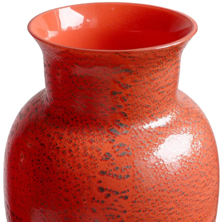 Hand-Crafted Large Murano Red Applied Heavy Silver Leaf Italian Art Glass Flower Vases For Sale