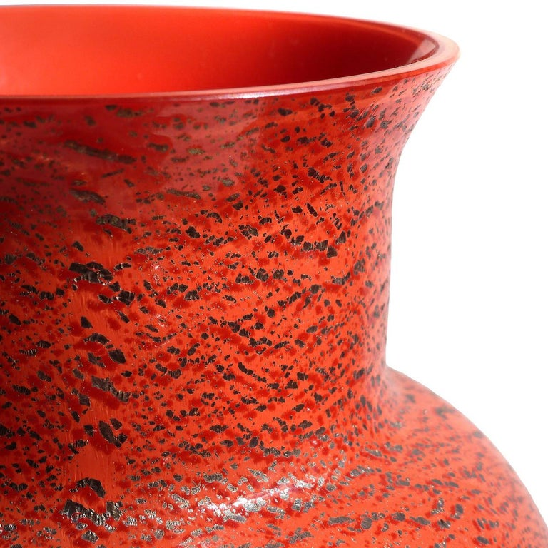 20th Century Large Murano Red Applied Heavy Silver Leaf Italian Art Glass Flower Vases For Sale