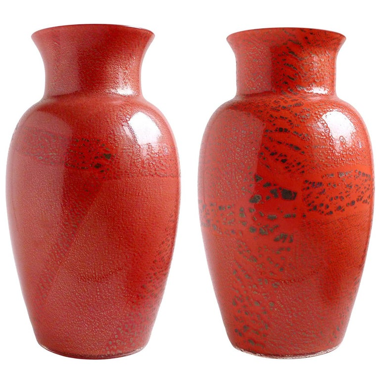 Large Murano Red Applied Heavy Silver Leaf Italian Art Glass Flower Vases For Sale