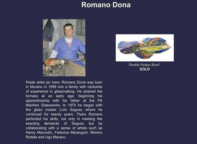 Italian Large Murano Romano Donà Multi-Color Abstract Art Glass Vase Italy Estate Find For Sale