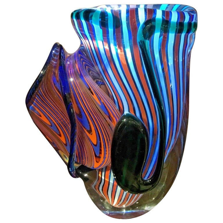 Large Murano Romano Donà Multi-Color Abstract Art Glass Vase Italy Estate Find For Sale