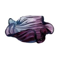 Large Murano Seguso Blue and Purple Shell Bowl, circa 1950