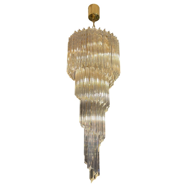 Large Murano Spiral Chandelier For Sale