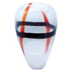 Large Murano Tri-Color Black, Red & White Ribbons on Clear Glass V Mason, 2000