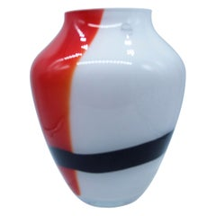 Large Murano Tri-Color Black, Red and White V Mason 2000 Boxed with Label
