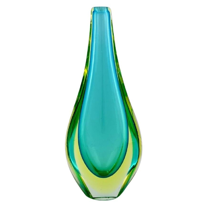 Large Murano Vase in Blue-Green Mouth Blown Art Glass, Italian Design, 1960s