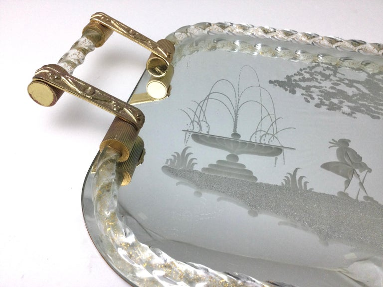 Mid-20th Century Large Murano Venetian Twisted Glass Rope Mirrored Etched Vanity Tray For Sale