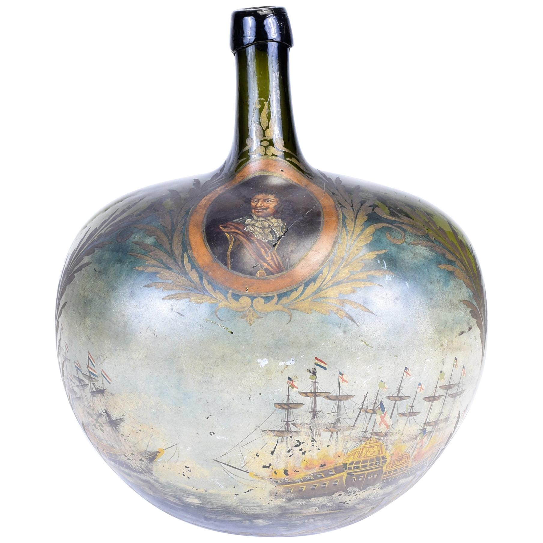 Large Museum Quality 1700s Dutch Demijohn Bottle