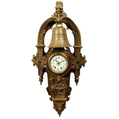 Large Napoleon III Gilt Bronze Cartel Clock