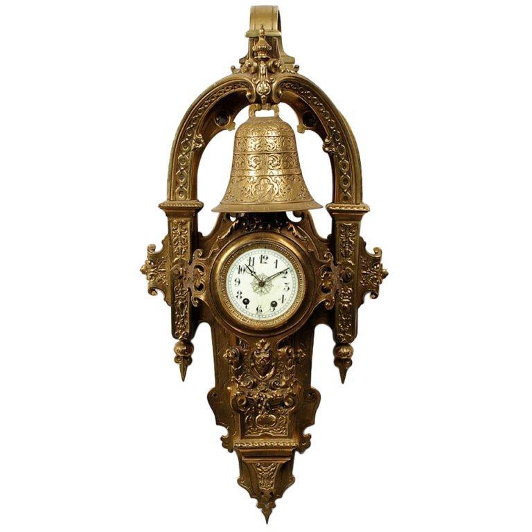 Large Napoleon III Gilt Bronze Cartel Clock For Sale