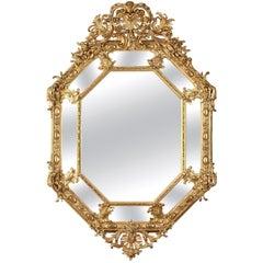Large Napoleon III Giltwood and Stucco Mirror