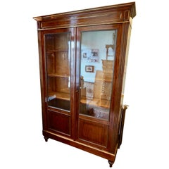 Large Napoleon III Mahogany Brass Gilt Large Bookcase Cum Showcase Curio