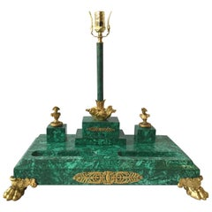 Large Napoleonic Malachite Inkwell Set