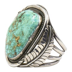 Large Native American Turquoise Sterling Silver Feather Cuff Bracelet