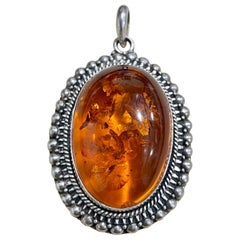 Large Natural Amber Necklace or Pendant in Sterling Silver