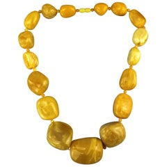 Large Natural Baltic White Amber Necklace
