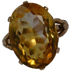 Large Natural Citrine and 9 Carat Rose Gold Statement Solitaire Ring
