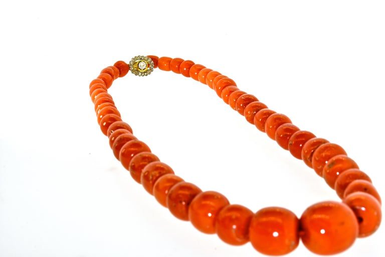 Women's or Men's Large Natural Coral and Diamond Antique Necklace, circa 1910-1920 For Sale