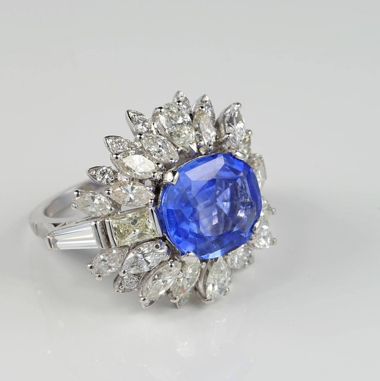 Contemporary Large Natural No Heat Sapphire Diamond Platinum Cocktail Ring For Sale