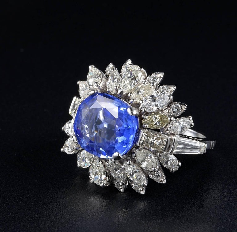 Women's or Men's Large Natural No Heat Sapphire Diamond Platinum Cocktail Ring For Sale