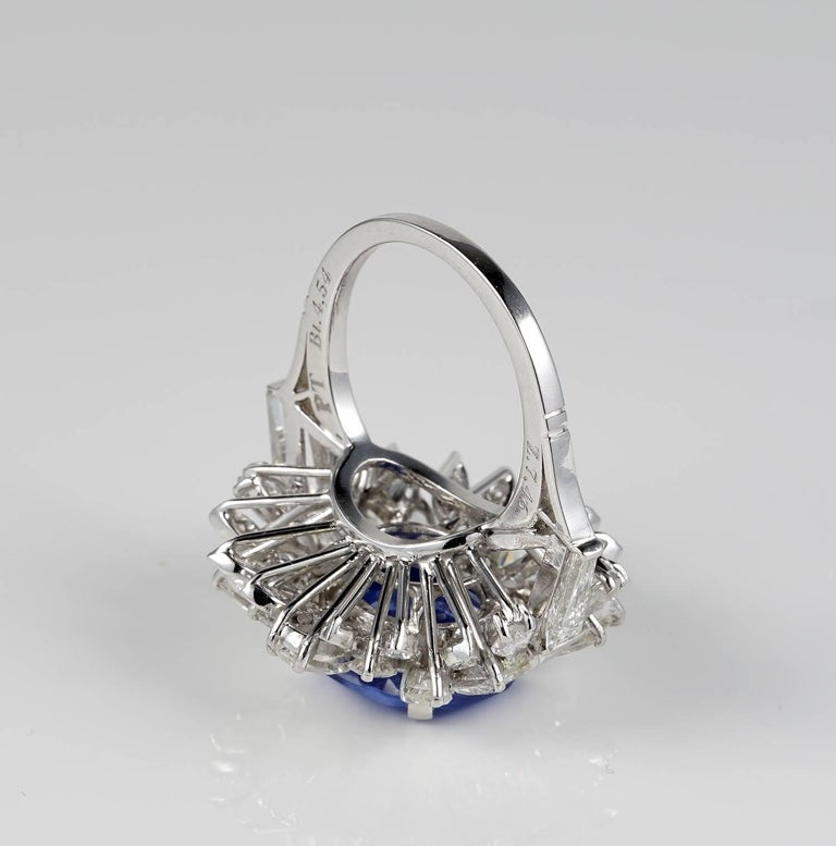 Large Natural No Heat Sapphire Diamond Platinum Cocktail Ring For Sale 1