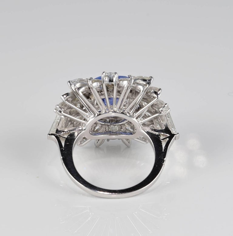 Large Natural No Heat Sapphire Diamond Platinum Cocktail Ring For Sale 2
