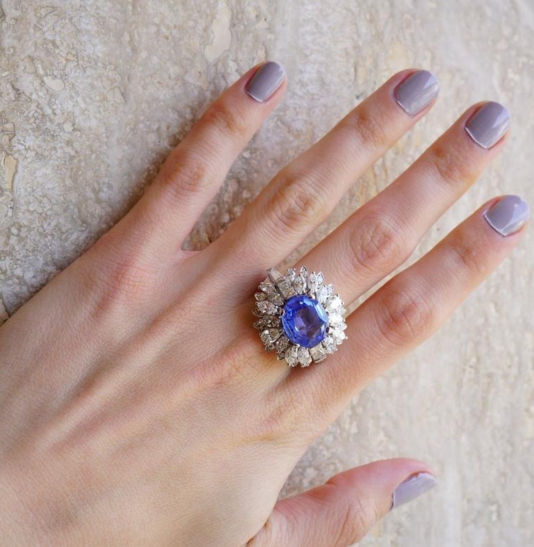 Large Natural No Heat Sapphire Diamond Platinum Cocktail Ring For Sale 3