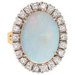 Large Natural Opal Diamond Ring Vintage 18 Karat Gold Oval Cocktail Jewelry