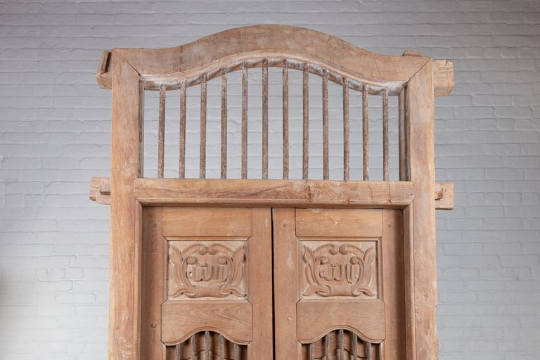 Indian Large Natural Wood Window Balcony with Hand Carved Foliage Motifs and Bonnet Top For Sale