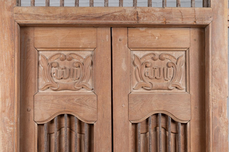 Large Natural Wood Window Balcony with Hand Carved Foliage Motifs and Bonnet Top In Good Condition For Sale In Yonkers, NY