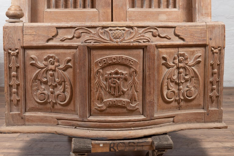 Large Natural Wood Window Balcony with Hand Carved Foliage Motifs and Bonnet Top For Sale 1