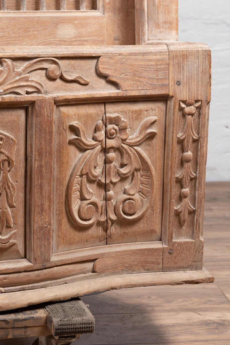Large Natural Wood Window Balcony with Hand Carved Foliage Motifs and Bonnet Top For Sale 4