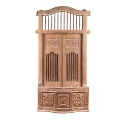 Large Natural Wood Window Balcony with Hand Carved Foliage Motifs and Bonnet Top