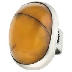 Large Navajo Amber and Sterling Ring, circa 1960s