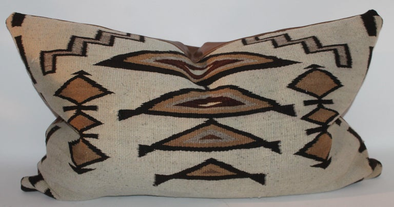 Large Navajo Indian Weaving Bolster Pillows with Leather Backing For Sale 3