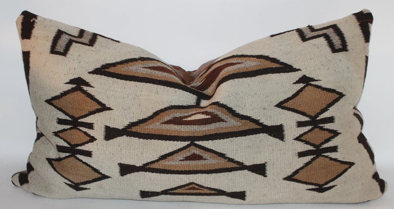 Large Navajo Indian Weaving Bolster Pillows with Leather Backing For Sale 4