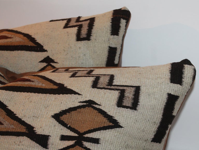 Adirondack Large Navajo Indian Weaving Bolster Pillows with Leather Backing For Sale