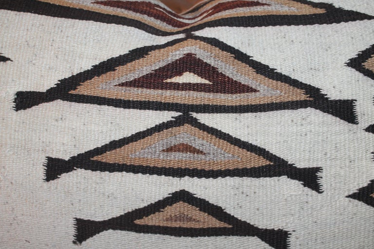 American Large Navajo Indian Weaving Bolster Pillows with Leather Backing For Sale