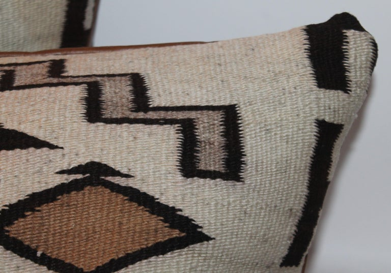 Hand-Crafted Large Navajo Indian Weaving Bolster Pillows with Leather Backing For Sale
