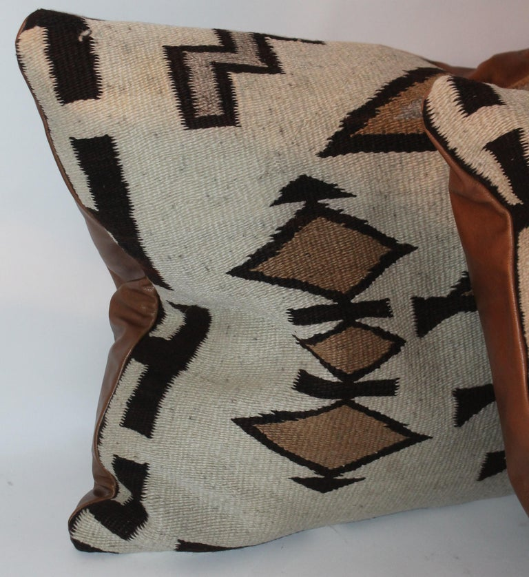 Large Navajo Indian Weaving Bolster Pillows with Leather Backing In Good Condition For Sale In Los Angeles, CA